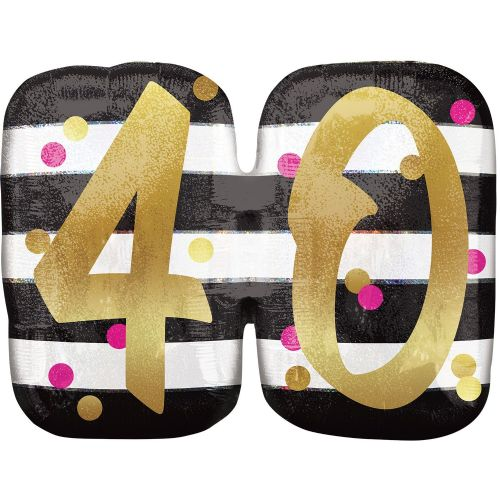 Pink & Gold 40th Birthday Holographic SuperShape